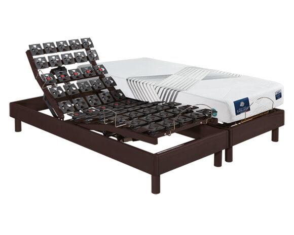 Maliterie.com Ensemble relaxation massif 4 moteurs PLENITUDE + VITAFORM , Finitions: Massif chocolat, Dimensions: 2x90x200cm, Télécommande: Sans fil, Confort Vitaform: Confort M-L