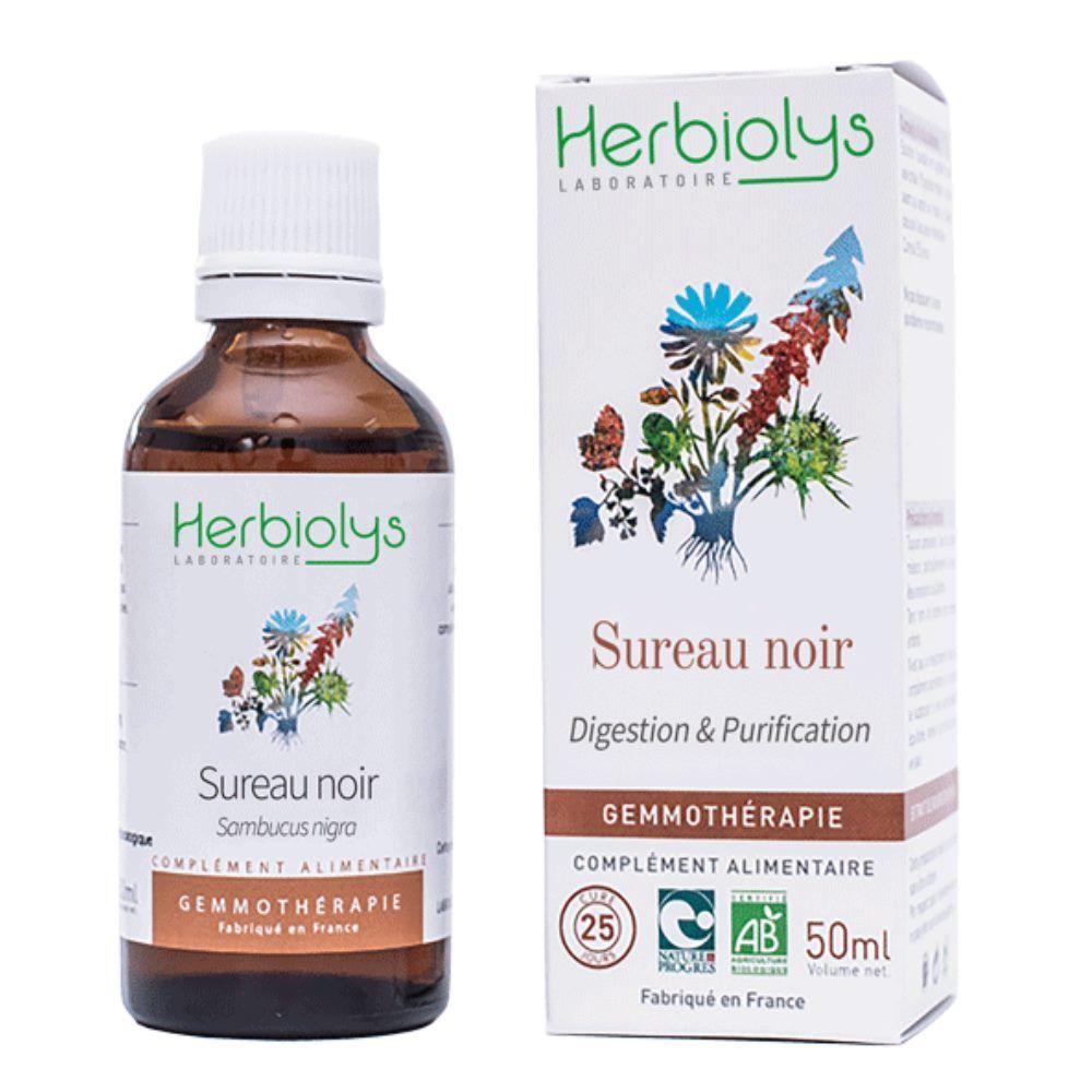 Herbiolys Sureau Noir Macérât de jeunes pousses Bio - Digestion & Purification 50 ml - Herbiolys