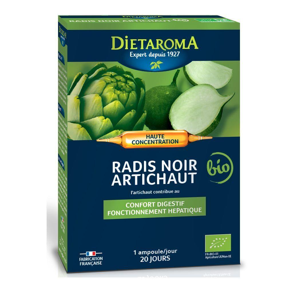 Dietorama C.I.P. Artichaut Radis Noir Bio - Confort Digestif et Hépatique 20 ampoules - Dietaroma