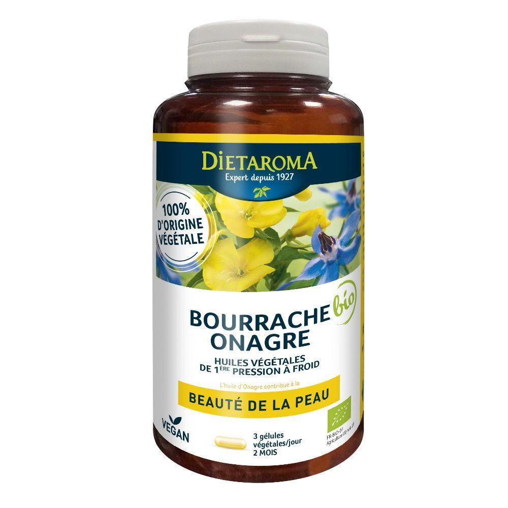 Dietorama Bourrache Onagre Bio - Beauté de la Peau 180 capsules - Dietaroma
