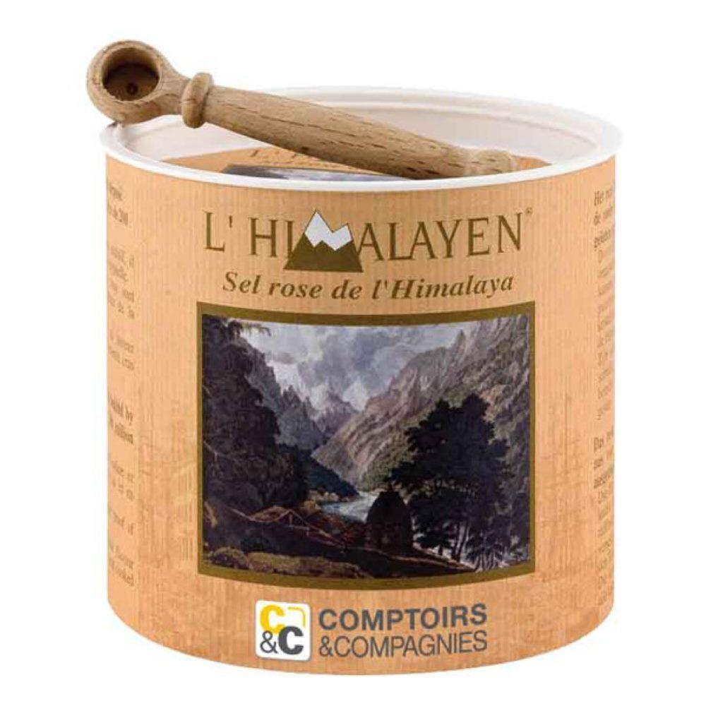 Comptoirs & Compagnies Sel Rose de l'Himalaya - L'Himalayen Boîte en bois et sa cuillère 250g - Comptoirs & Compagnies