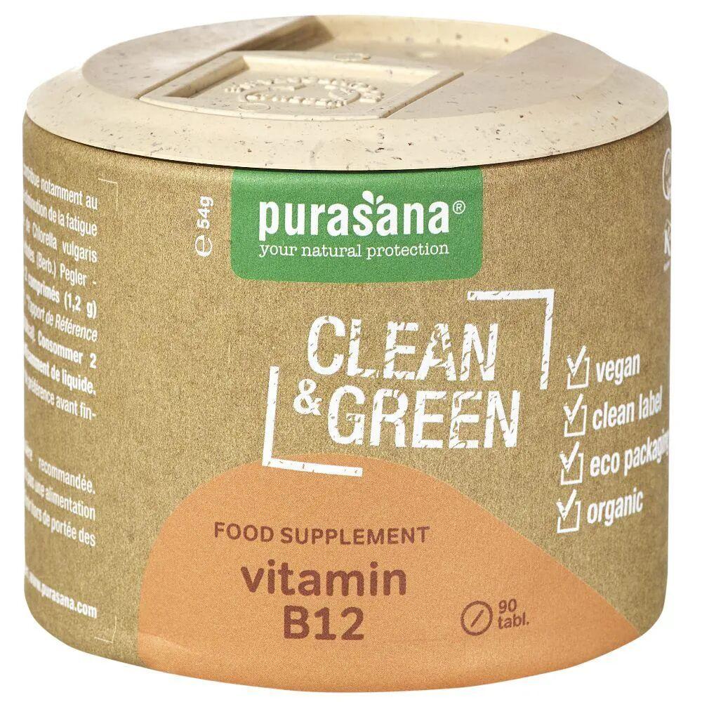 Purasana Vitamin B12 Clean & Green - Fatigue et Immunité 90 comprimés - Purasana