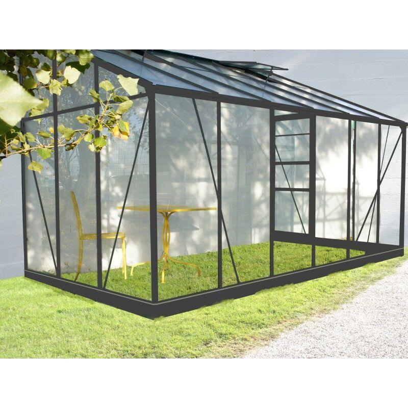 Chalet et Jardin Serre de jardin adossée en aluminium laqué gris et verre trempé 7,22m² + embase