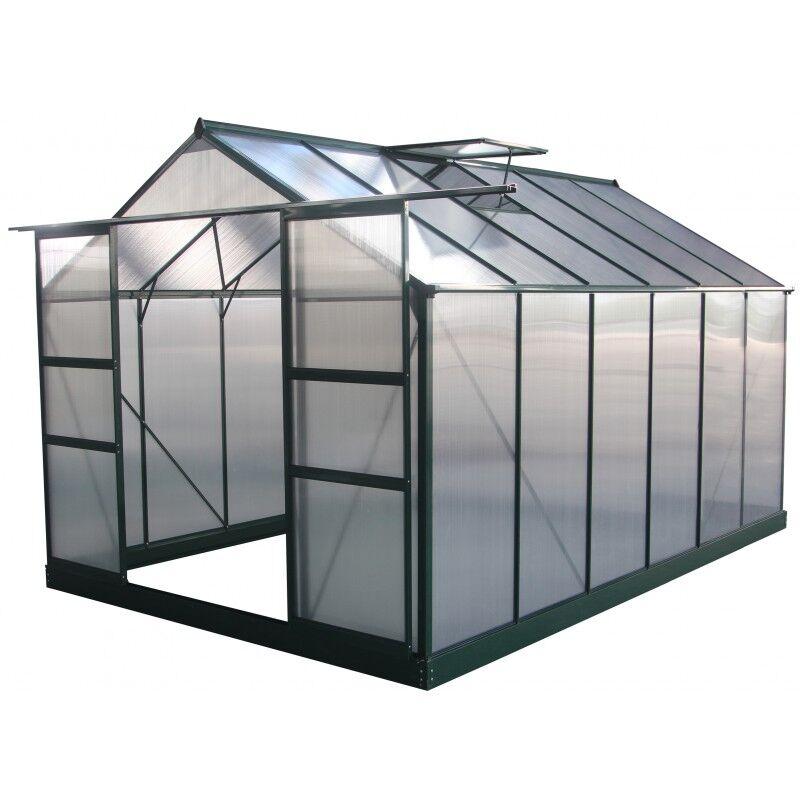 Green Protect Serre de jardin 9,13m² verte en polycarbonate 4mm + embase Green Protect
