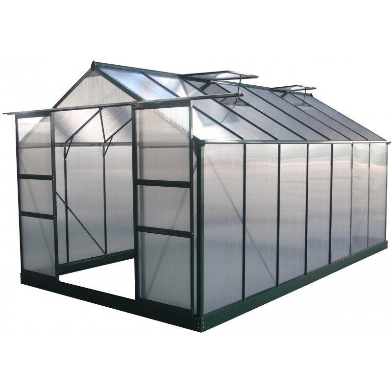 Green Protect Serre de jardin 13,2m² verte polycarbonate 4mm + embase Green Protect
