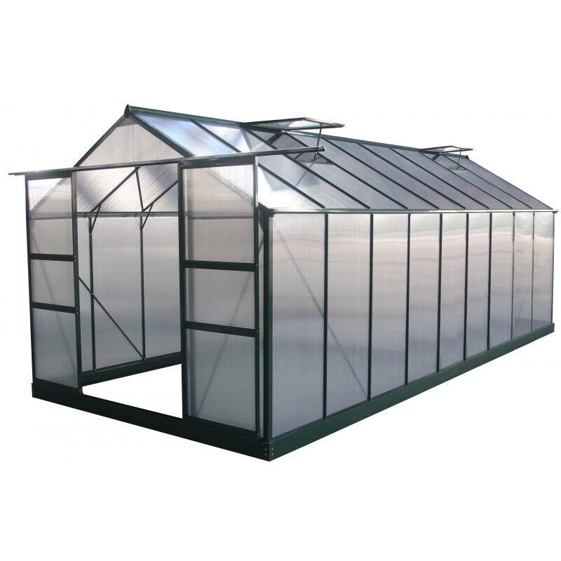 Green Protect Serre de jardin 16,9m² verte en polycarbonate 4mm + embase Green Protect