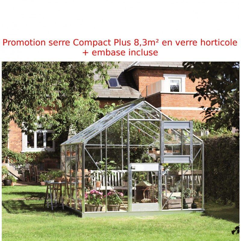 Juliana Promo serre de jardin 8,3m² aluminium et verre Junior + embase Juliana