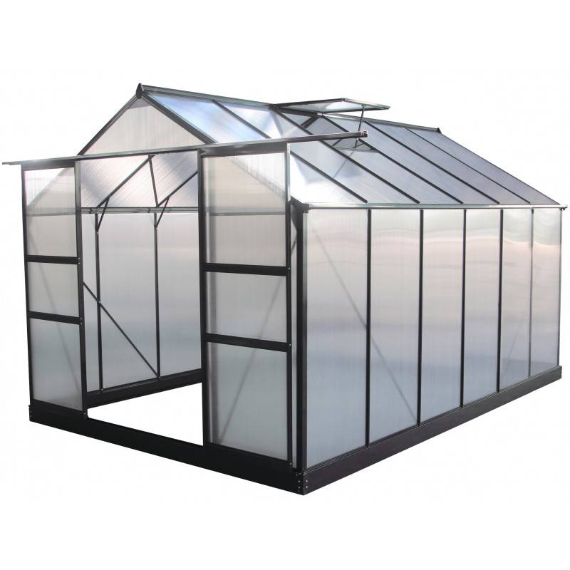 Green Protect Serre de jardin 9,13m² anthracite en polycarbonate + embase Green Protect