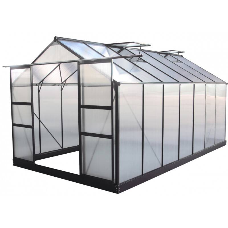 Green Protect Serre de jardin 13,2m² anthracite polycarbonate 4mm + embase Green Protect