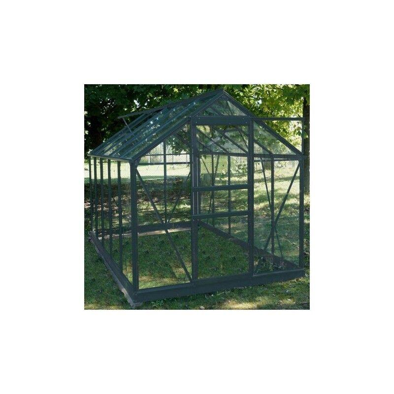 Chalet et Jardin Serre de jardin en aluminium laqué gris et verre trempé 5,77m² + embase