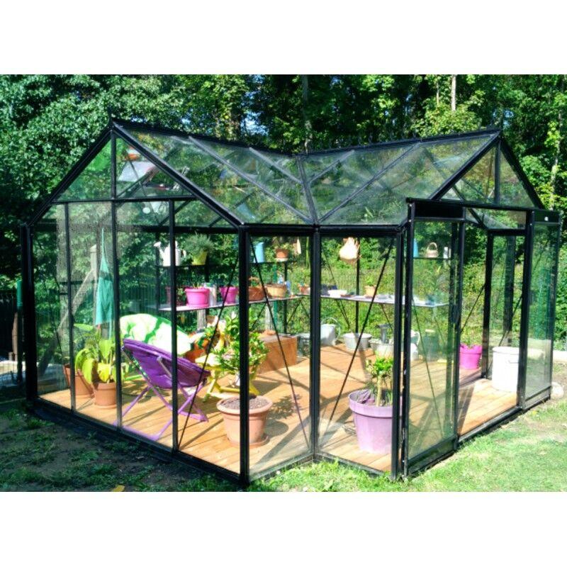 ACD Orangerie La serre d'Hélène 15,79m² aluminium et verre trempé 4mm avec embase  ACD Prestige Live