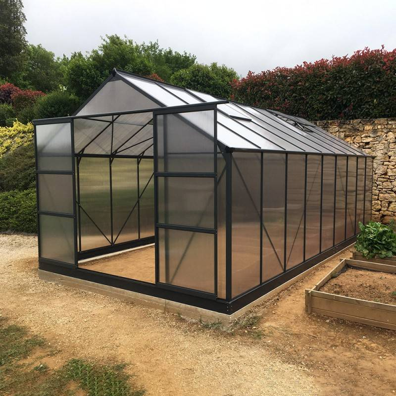 Green Protect Serre de jardin 16,9m² anthracite en polycarbonate 4mm + embase Green Protect