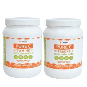 Pure Vitamine C en poudre   Pack 2 Pots 1kg
