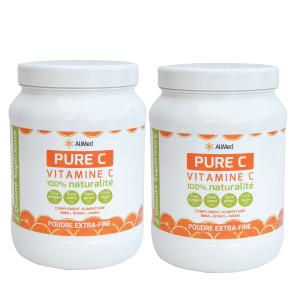 Pure Vitamine C pure en poudre d'origine végétale - Qualité Supérieure - Pack 2 x 1kg