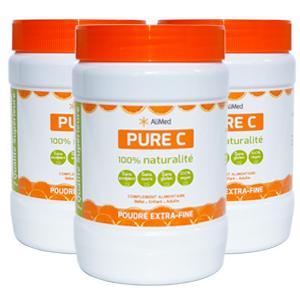 Pure Vitamine C pure en poudre d'origine végétale - Qualité Supérieure - 3 x 500 gr
