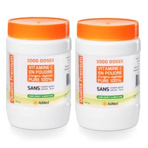 Pack 2 pots de 500 grammes Vitamine C pure en poudre d'origine végétale Acide L-Ascorbique(CAS 50-81-7) Qualité Supérieure : Vitamine C la mieux ... Vitamine C pure en poudre d'origine végétale - Qualité Supérieure - 2 x 500 gr