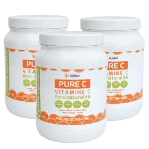 Pure Vitamine C en poudre   Pack 3 Pots 1kg