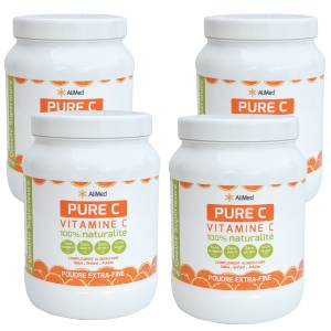 Pack de 4 x 1 kg Frais de port offerts ! (France métropolitaine uniquement) Vitamine C pure en poudre d'origine végétale Acide L-ascorbique  Qualité Supérieure : Vitamine C la mieux assimilée ... Vitamine C pu