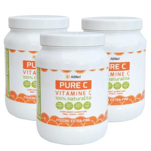 Pure Vitamine C pure en poudre d'origine végétale - Qualité Supérieure - Pack 3 x 1kg
