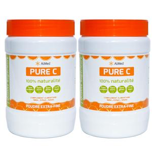Pure Vitamine C pure en poudre d'origine végétale - Qualité Supérieure - 2 x 500 gr
