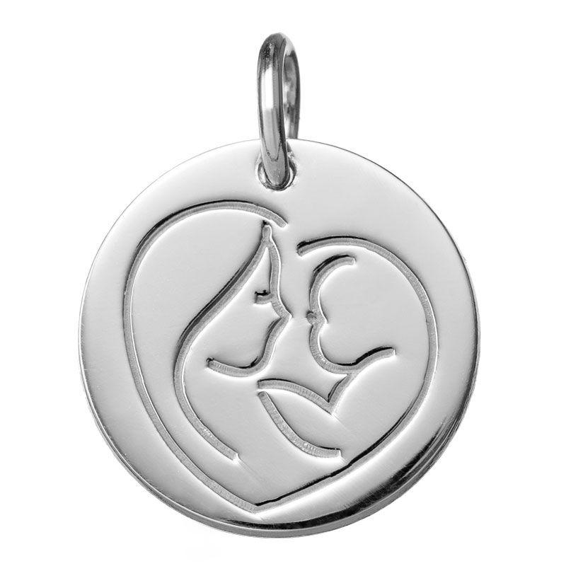 Orféva Médaille Coeur de Maman (Or blanc 9K)