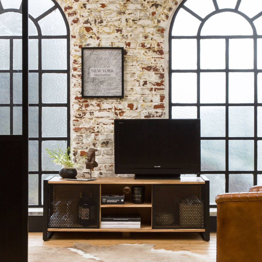 madeinmeubles Meuble tv industriel grillage métal noir