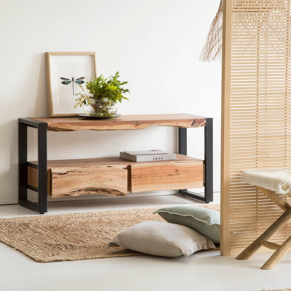 madeinmeubles Meuble TV style tronc arbre pieds métal, 2 tiroirs