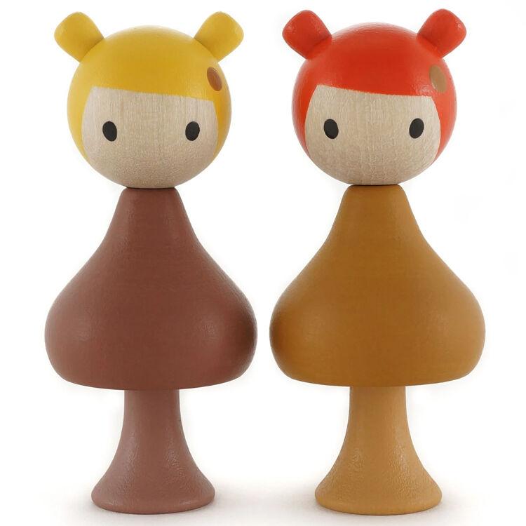 CLICQUES Lot de 2 figurines en bois magnétiques - Gaia et Mimi - CLICQUES