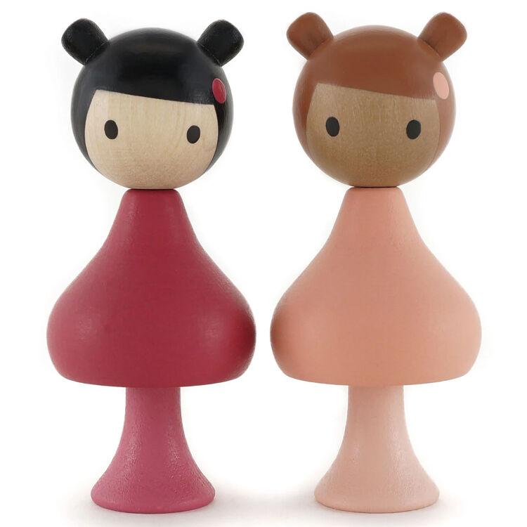 CLICQUES Lot de 2 figurines en bois magnétiques - Julie et Phoebie - CLICQUES