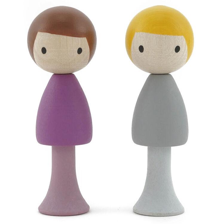 CLICQUES Lot de 2 figurines en bois magnétiques - Luca et Tom - CLICQUES