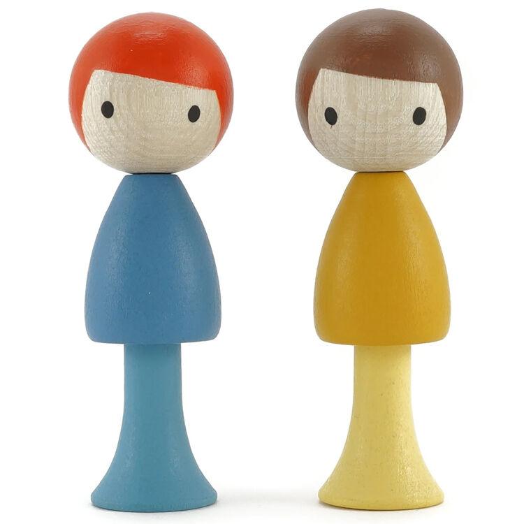 CLICQUES Lot de 2 figurines en bois magnétiques - Marco et Ben - CLICQUES