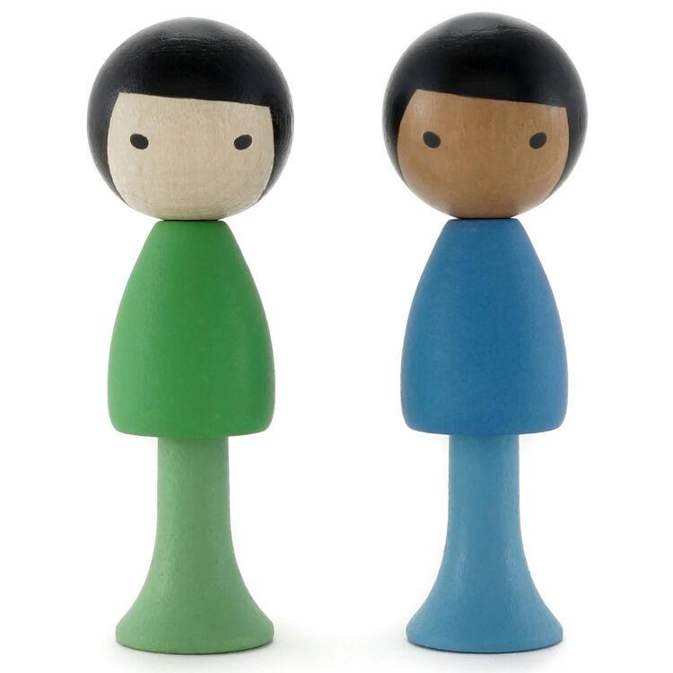 CLICQUES Lot de 2 figurines en bois magnétiques - Tai et Nico - CLICQUES