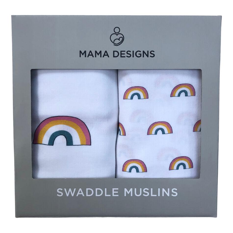 MAMA DESIGNS Coffret de 2 maxi langes mousseline de coton Rainbow - MAMA DESIGNS