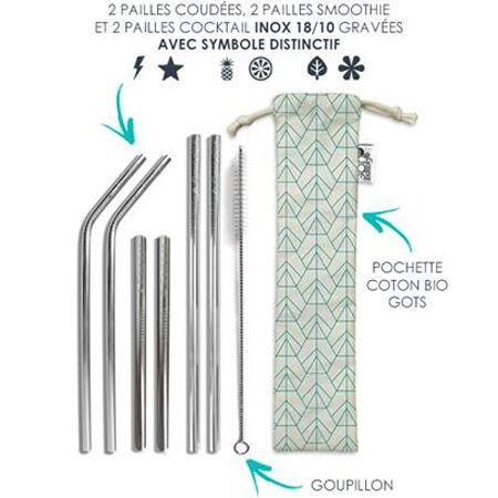 GASPAJOE Set 6 pailles en inox + accessoires - GASPAJOE