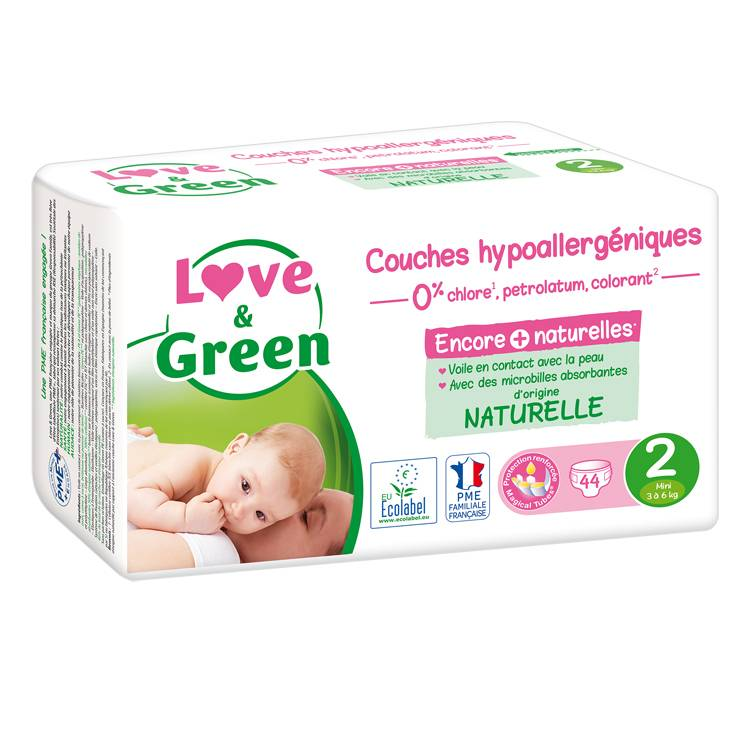 LOVE & GREEN Couches jetables écologiques Taille 2 MINI 3-6kg - LOVE & GREEN