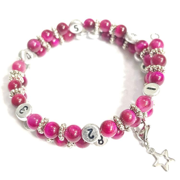IRREVERSIBLE BIJOUX Bracelet d'allaitement et biberonnage en perles naturelles Oeil de tigre rose - IRREVERSIBLE BIJOUX