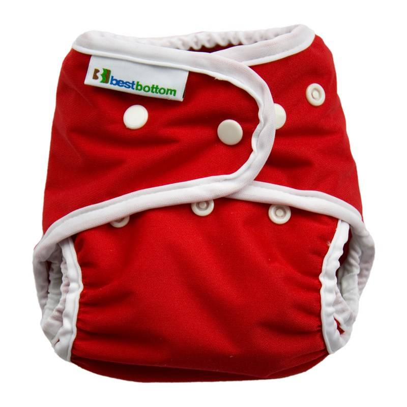 BEST BOTTOM Couche lavable TE2 (Tout en 2) - Taille Unique (4-14kg) - Very Cherry - BEST BOTTOM