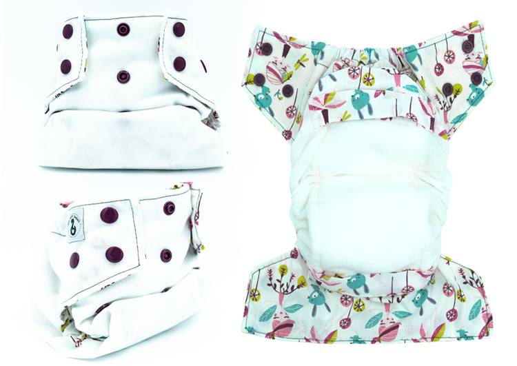 MON PETIT PAQUET Couche lavable TE1 (Tout en 1) - Taille 1 (3-8kg) - Blanc Jaëlle - MON PETIT PAQUET
