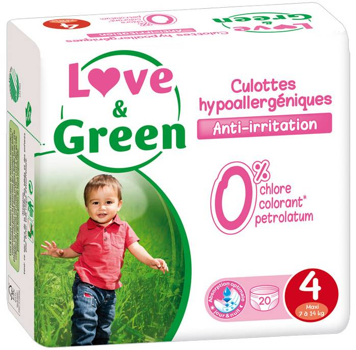 LOVE & GREEN Culottes d'apprentissage jetables écologiques Taille 4 MAXI 7-14kg - LOVE & GREEN