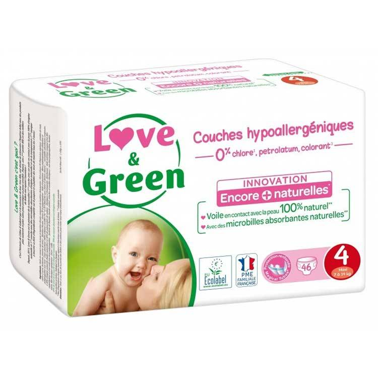LOVE & GREEN Couches jetables écologiques Taille 4 MAXI 7-14kg - LOVE & GREEN