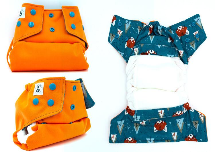 MON PETIT PAQUET Couche lavable TE1 (Tout en 1) - Taille 2 (7-16kg) - Orange Renard - MON PETIT PAQUET