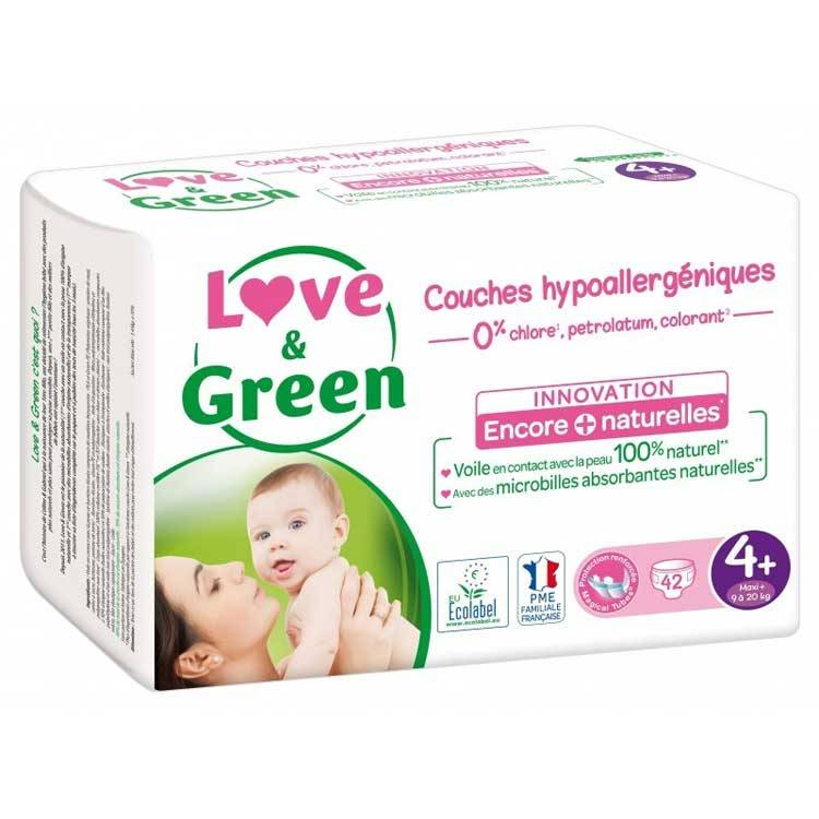 LOVE & GREEN Couches jetables écologiques Taille 4+ MAXI+ 9-20kg - LOVE & GREEN