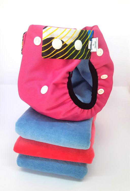 APIAFRIQUE PACK DECOUVERTE Couches lavables TE2 (Tout en 2) - Taille 2 (4-8kg) - Rosé Foncé - APIAFRIQUE