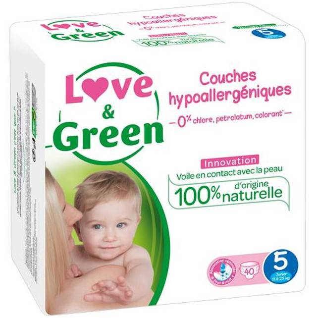 LOVE & GREEN Couches jetables écologiques Taille 5 JUNIOR 12-25kg - LOVE & GREEN
