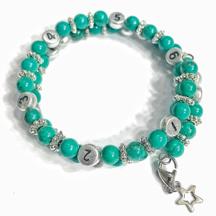 IRREVERSIBLE BIJOUX Bracelet d'allaitement et biberonnage en perles naturelles Turquoise bleu - IRREVERSIBLE BIJOUX