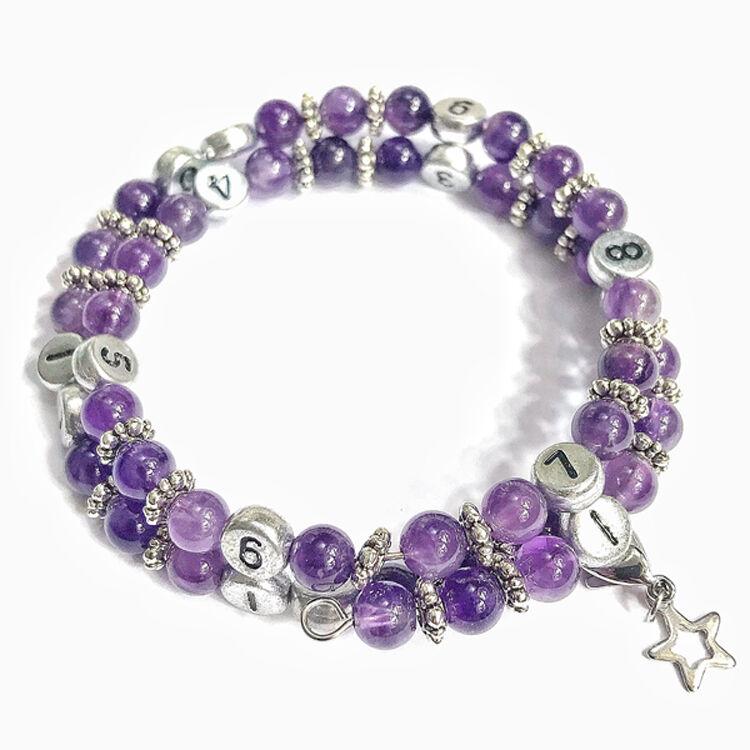 IRREVERSIBLE BIJOUX Bracelet d'allaitement et biberonnage en perles naturelles Améthyste violet - IRREVERSIBLE BIJOUX