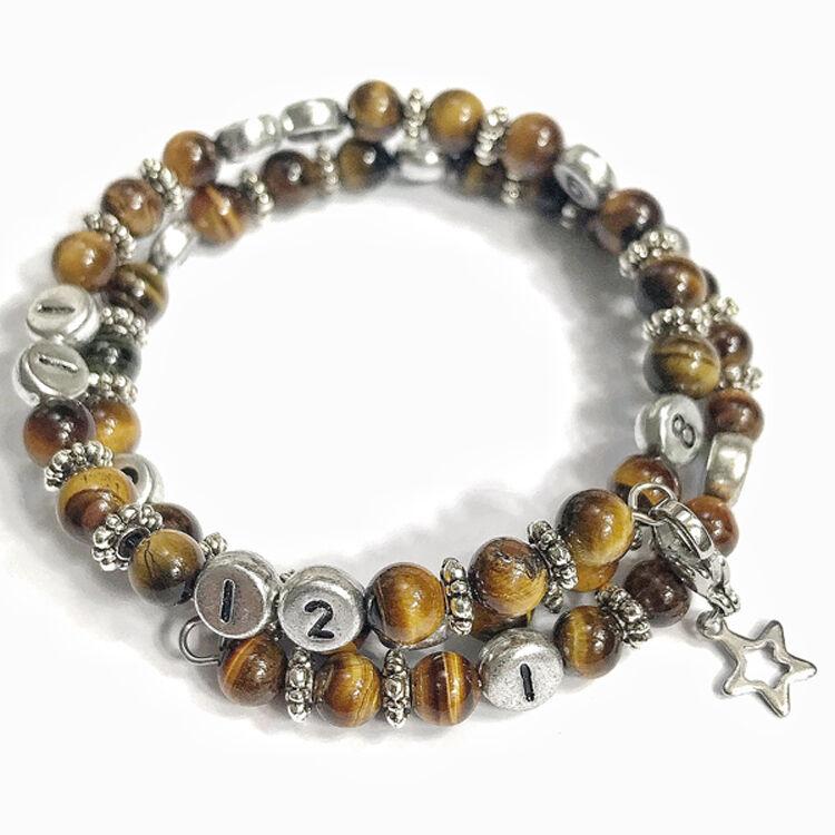 IRREVERSIBLE BIJOUX Bracelet d'allaitement et biberonnage en perles naturelles Oeil de tigre Brune - IRREVERSIBLE BIJOUX