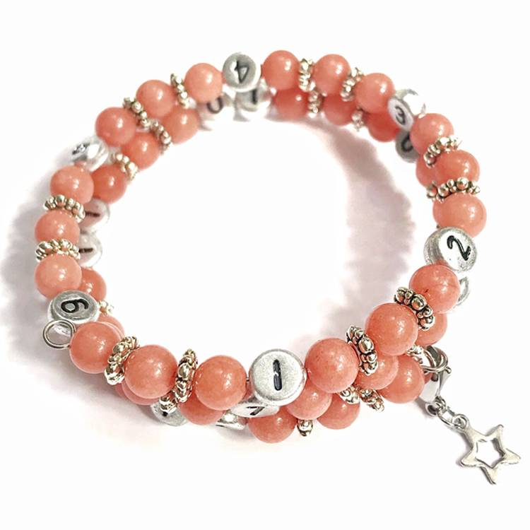 IRREVERSIBLE BIJOUX Bracelet d'allaitement et biberonnage en perles naturelles Quartz rose - IRREVERSIBLE BIJOUX