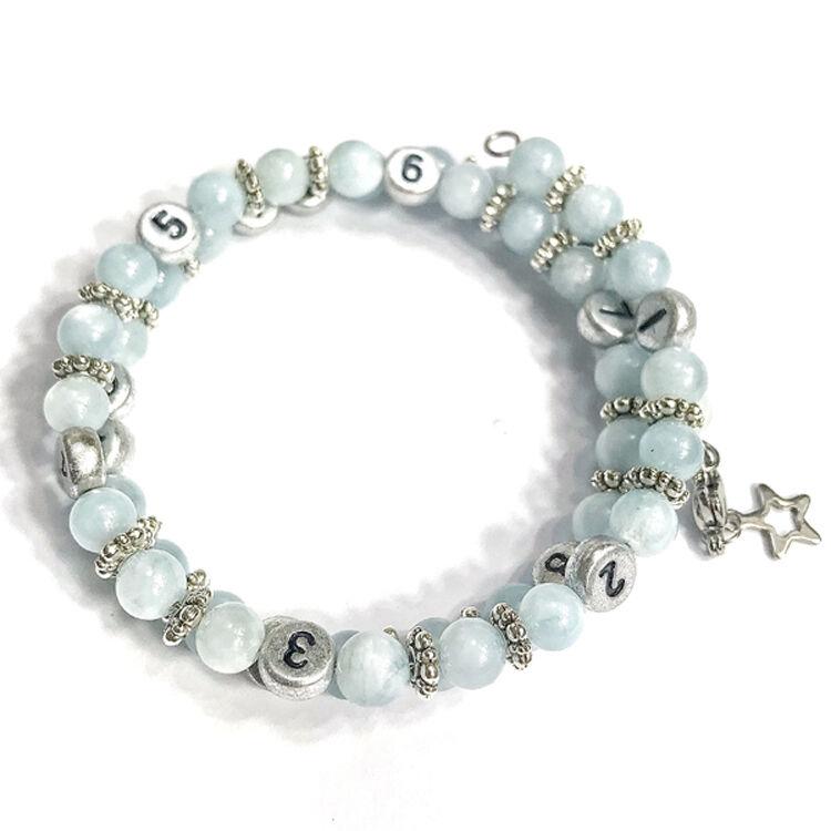 IRREVERSIBLE BIJOUX Bracelet d'allaitement et biberonnage en perles naturelles Aquamarine bleu - IRREVERSIBLE BIJOUX