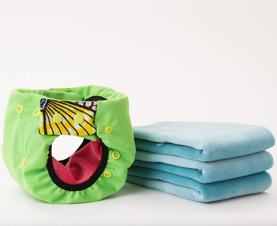 APIAFRIQUE PACK DECOUVERTE Couches lavables TE2 (Tout en 2) - Taille 2 (4-8kg) - Anis - APIAFRIQUE